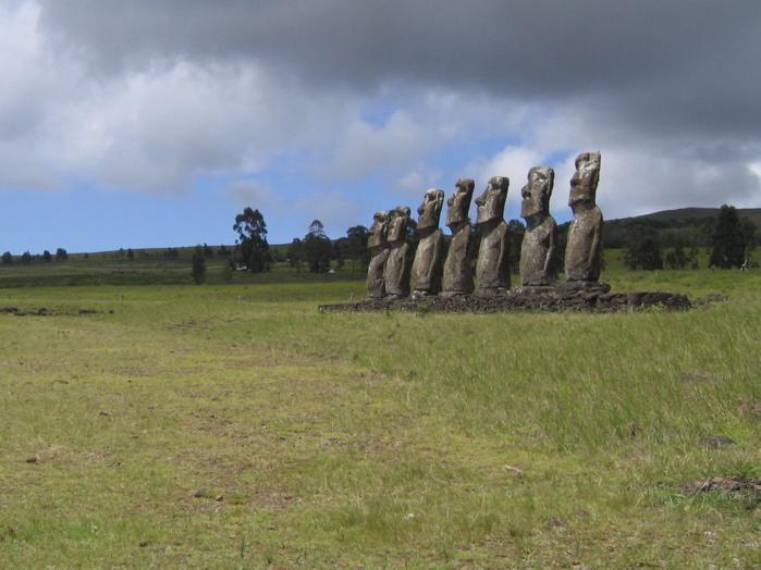 les 7 moai de l'ahu Akivi
