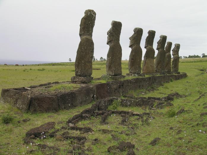 au premier plan : derrière l'ahu, emplacements de tombes