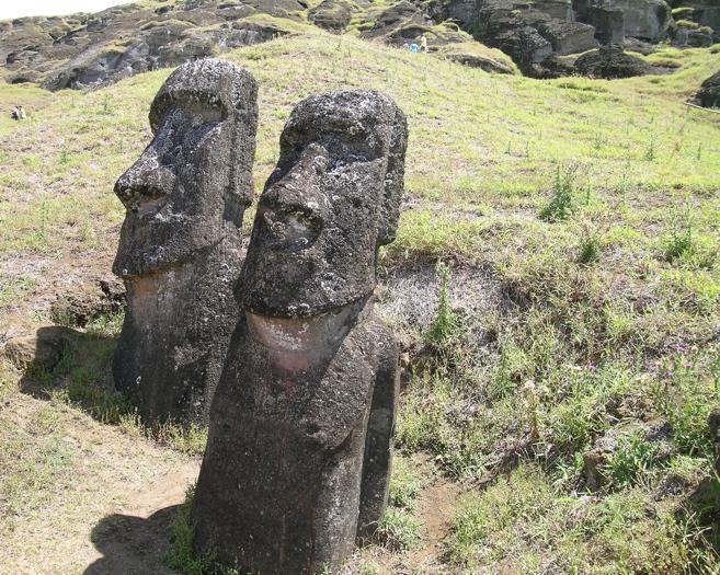 au premier plan, moai portant un pétroglyphe