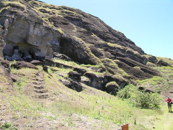 moai au stade de fabrication