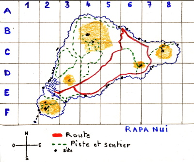Rapa Nui, baie La Pérouse : C/7  et  te Pito o te Henua : C/6