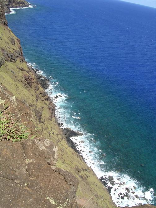 à l'est de Rapa Nui : la falaise